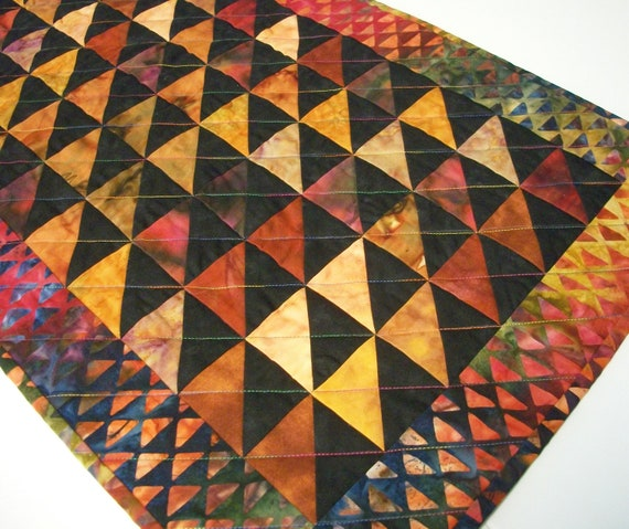 Fall Autumn Table Topper Triangles Batik Handmade Quilted Ready to Ship One of a Kind