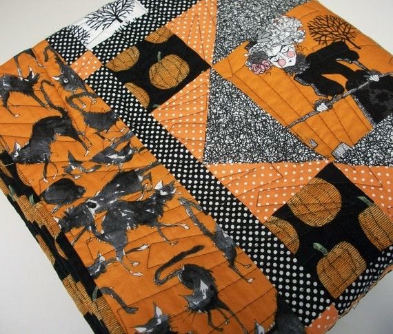 Halloween Lap Quilt Fall Autumn Alexander Henry The Ghastlies Handmade Ready to Ship One of a Kind