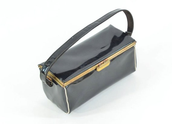 50s Black Patent Leather Box Purse White Piping
