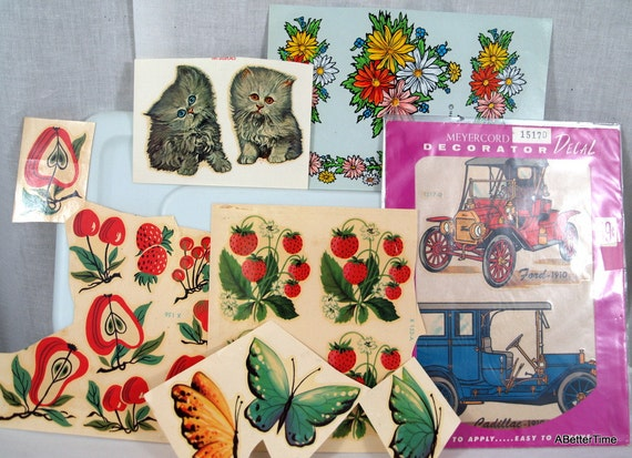 Vintage 1950s decals kittens fruit flowers cars butterfly