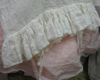 Washed Linen Ruffled Pillowcase Shams-One Pair-Standard-Queen-King Size Shams