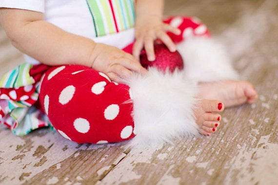 Christmas winter Baby Infant Girl red and white polka dots leg warmers w/attached white faux fur for added cuteness