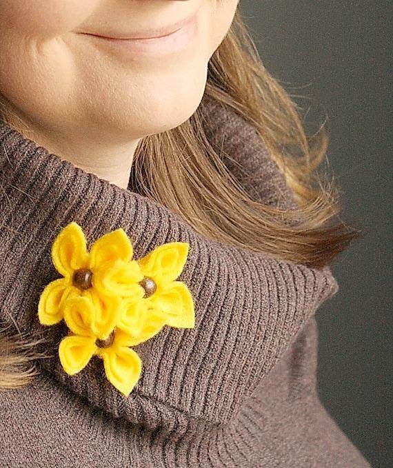 SALE Mellow Yellow , Felt Flower Brooch