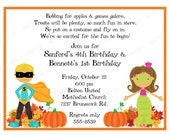 10 Halloween Costume Party Invitations with Envelopes.  Free Return Address Labels