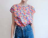 vintage floral top / lightweight shell top / S-M