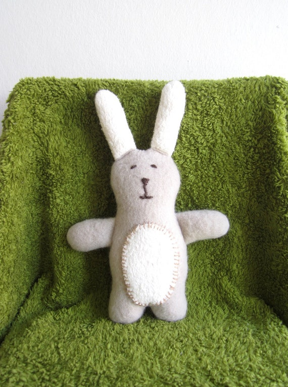 Bunny, organic cuddly soft bunny, grey, white, wool, cotton, plushie, stuffed toy, baby gift, toddler gift, shower gift, eco friendly