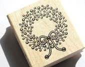 CHRISTMAS in JULY SALE Holly Wreath Rubber Stamp from Inkadinkado  // Brand New