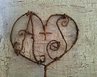 Monogram Wedding Cake Topper - Rustic Natural Heart Autumn Winter Wedding Initials Personalized