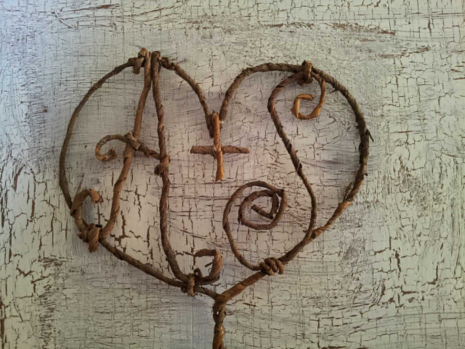 Monogram Wedding Cake Topper Rustic Natural Heart Autumn