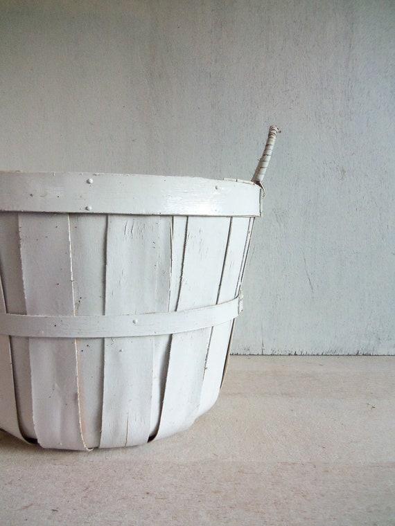 Vintage White Apple Basket