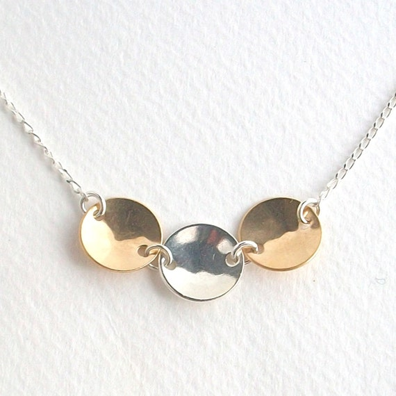 WEEKLY SPECIAL 40% OFF -- Curved Discs Necklace . sterling silver & gold filled . three circles . handmade jewelry by MoshPoshDesigns