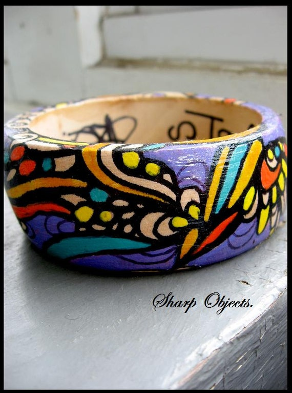 STAINED GLASS - hand drawn original graffiti art enamel, wooden carved bangle BRACELET