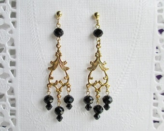 Black Crystal Chandelier Earrings Gold Dangle Drops Long