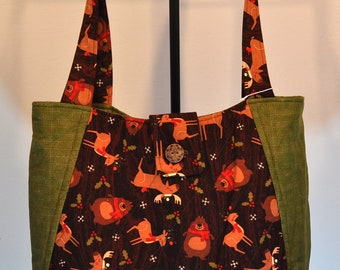 Woodland Animals Print Quilted Hobo style handbag purse
