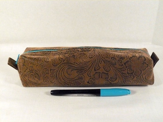 Half off - Pencil case, tooled faux leather, unisex, crochet hook pouch