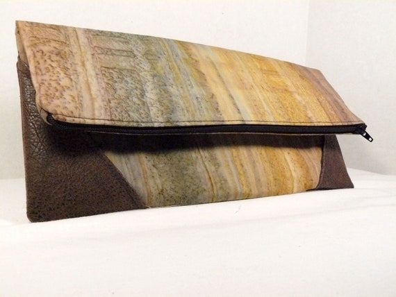Fold over zippered pouch clutch - earthy watercolor batik -