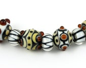 Brown, White & Black Beads - lampwork bead set-2 of 8 beads