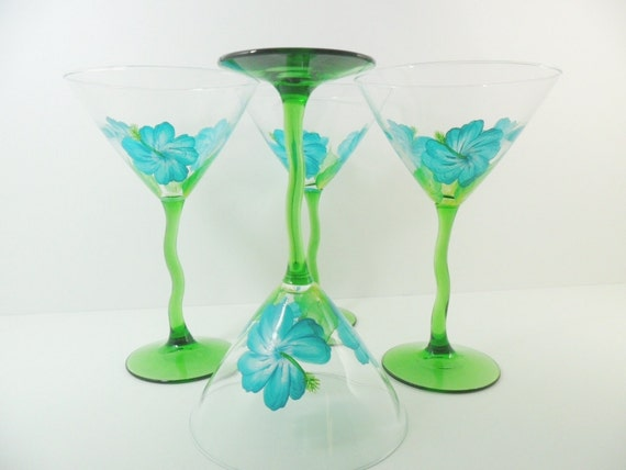 Martini Glasses Hand Painted Aqua Hibiscus Set of 4
