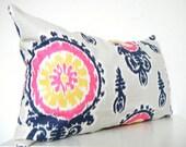 Pink Ikat Pillow Long Bolster Pillow Decorative Pillows Navy Blue Pillows Mustard Yellow ikat pillows, blue ikat pillows, gray ikat pillows