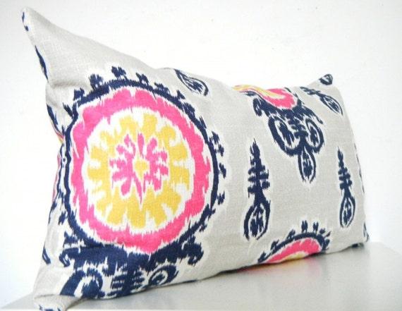 Navy And Pink Decorative Pillows: Items Similar To Pink Ikat Pillow Long Bolster Pillow