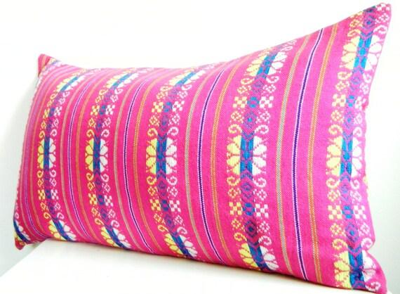 Long Bolster Pillow Pink Lumbar Pillow 12x22 Inch Bohemian Bedding Neon Pink Decorative Pillows Tribal Pillows Boho Pillows