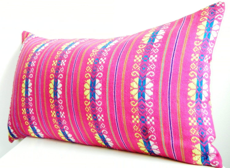 Long Bolster Pillow Pink Lumbar Pillow 12x22 Inch Bohemian