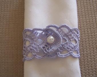 crochet  napkin rings 2 pieces LAVENDER BLUE