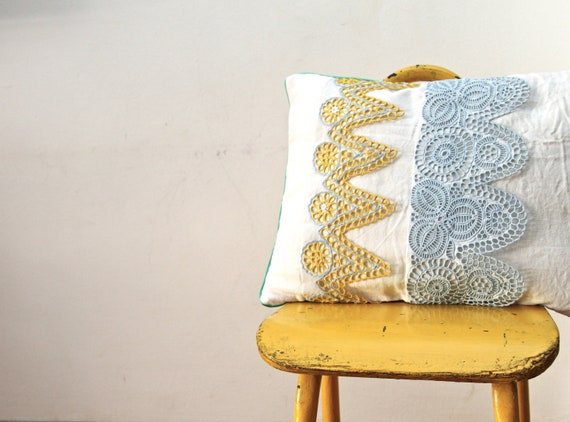 OOAK hand embroidered yellow and blue collarette pillow cover