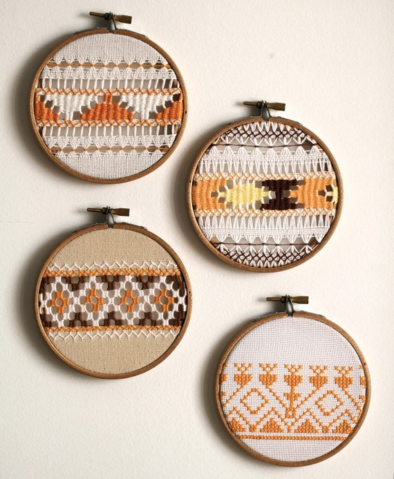 RESERVED for Emma B, Mix & Match set of 4 vintage tangerine embroidery wall art hoops