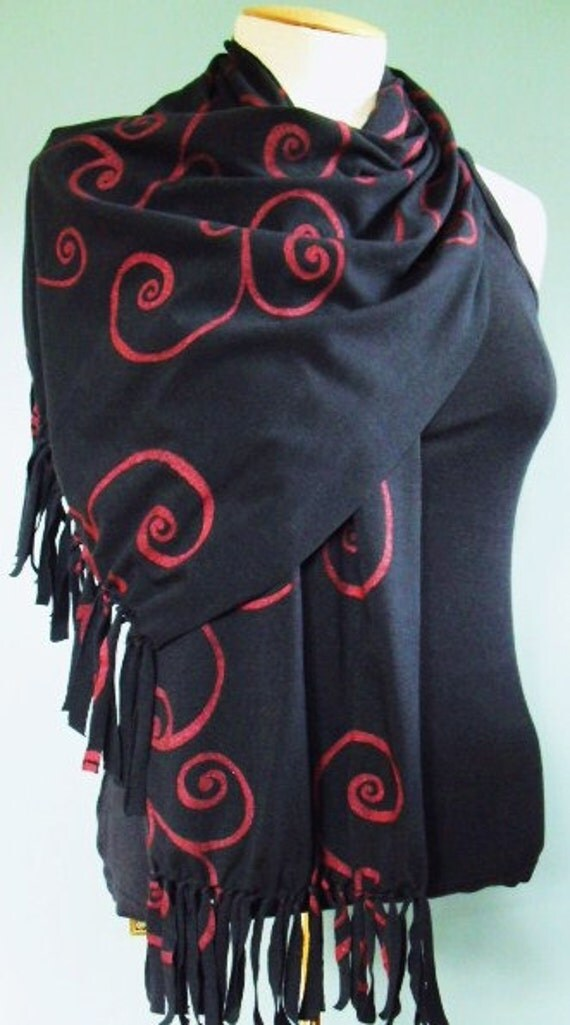 Black Jersey Knit Scarf With Cranberry Red Metallic Screen Printed Scroll