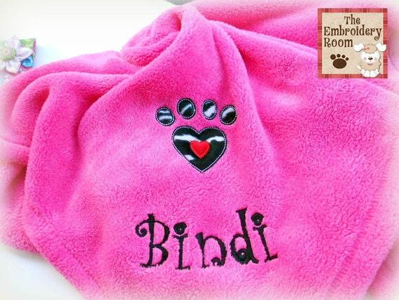 Appliquéd  Dog Blanket - Zebra Heart Paw Print