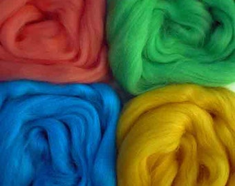 """Merino Wool for Wet Felting or Spinning   2oz. Pack of Assorted Colors """"South Beach"""""""