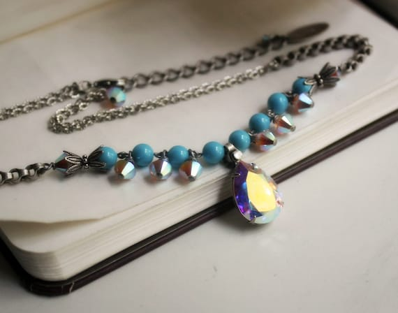 PRICE REDUCTION D'Mer Aged Silver and Swarovski Necklace - Blue - Turquoise - Silver - Water - Beach - Pearls - Summer - Wedding - Bridal