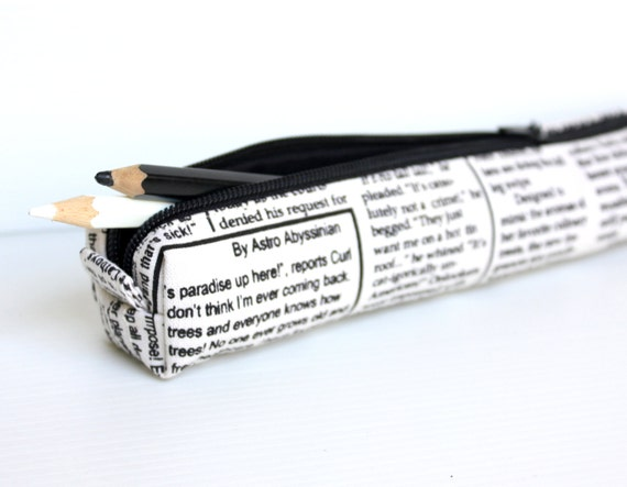 Black and White Newspaper Pencil Case, Petite Cotton Zippered Pouch