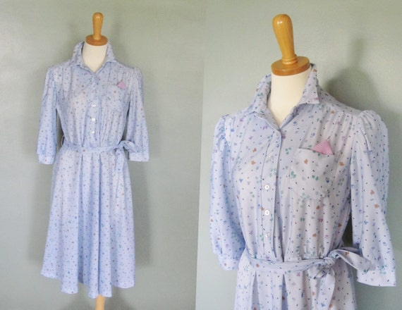 15 Dollar Sale - Vintage 80s PALE BLUE Dress - Women M L - Floral Pattern