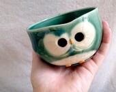 Hooter Owl Mug (Brandt) in Yellie Cellie Green Handmade Stoneware