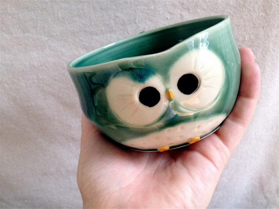 Hooter Owl Mug (Brandt) in Yellie Cellie Green Handmade Stoneware