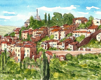 Bonnieux, France art print from an original watercolor painting