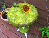 Van Gogh Swirls go Organic Repurposed Side table/indoor/outdoor/Raffia/Moss/Lavendar/home and garden