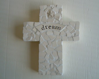 Mosaic Dream Cross,upcycled pottery dish, one of a kind.