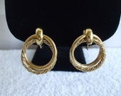 Napier Gold Tone  Earrings, Double Intertwined Hoop Screw Backs, Clip Ons. Signed