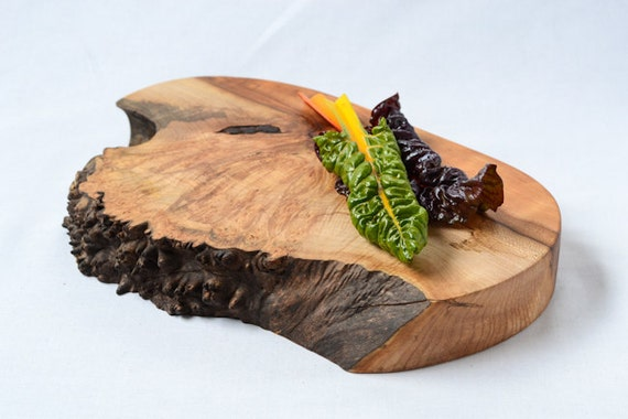 Burl Burst, Extra Thick, Natural Edge Wooden Serving Board 727, Ready to Ship