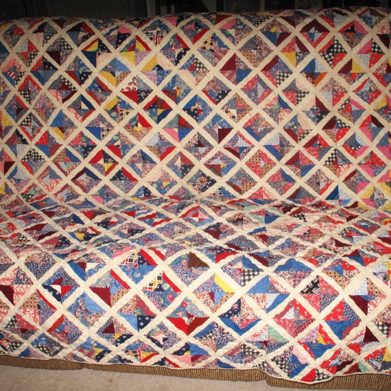 Vintage Hand Pieced and Hand Quilted Quilt