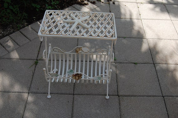 Vintage Metal Table Magazine Rack with Roses - Shabby Chic  Cottage  Flea Market at Retro Daisy Girl
