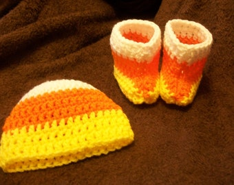 Traditional Candy Corn Baby Hat and Bootie Set