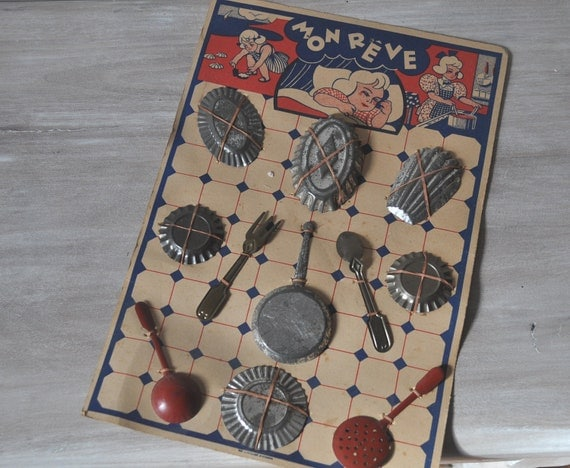 Toy Cooking Set Vintage French 1950s