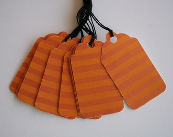 Orange Glossy Striped Gift Tags (10)