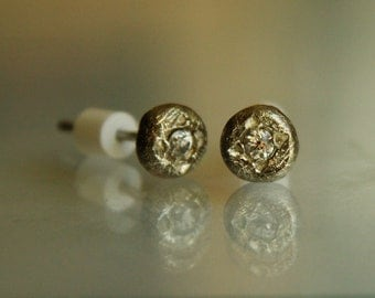 Simple. Minimalism. Perfect. Silver post earrings with CZ from Miss Perfect collection. One-of-a-kind handmade.