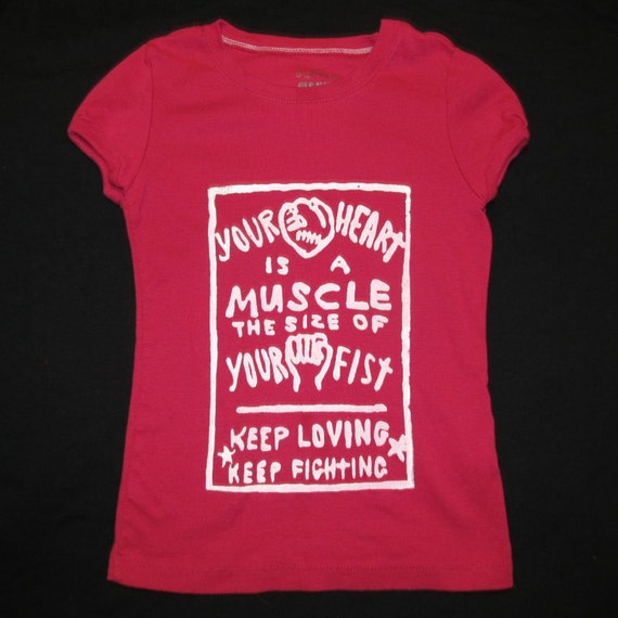 Red Heart is a Muscle t shirt, white image, children small - punk, crimethinc, anarchist, resistance