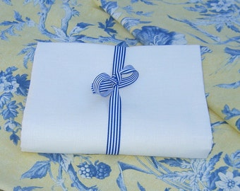 Handkerchief LINEN Bright White elegant summer sewing fabric supplies from MyGypsyCottage on Etsy